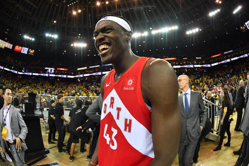 OAKLAND, CA - JUNE 13: Pascal Siakam #43 of the Toronto Raptors reacts after defeating the Golden State Warriors in Game Six of the NBA Finals on June 13, 2019 at ORACLE Arena in Oakland, California. (Photo by Jesse D. Garrabrant/NBAE via Getty Images)