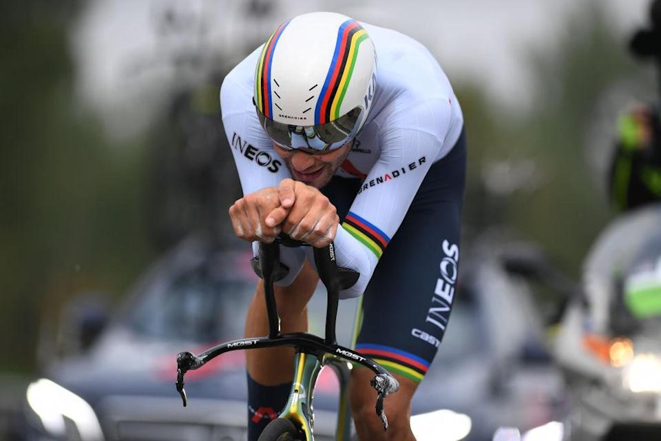 MILANO ITALY  OCTOBER 25 Filippo Ganna of Italy and Team INEOS Grenadiers  during the 103rd Giro dItalia 2020 Stage 21 a 157km Individual time trial from Cernusco sul Naviglio to Milano  ITT  girodiitalia  Giro  on October 25 2020 in Milano Italy Photo by Tim de WaeleGetty Images