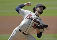 Atlanta Braves pitcher Ian Anderson works against the San Francisco Giants in the first inning of a baseball game Sunday, Aug. 29, 2021, in Atlanta. (AP Photo/Ben Margot)
