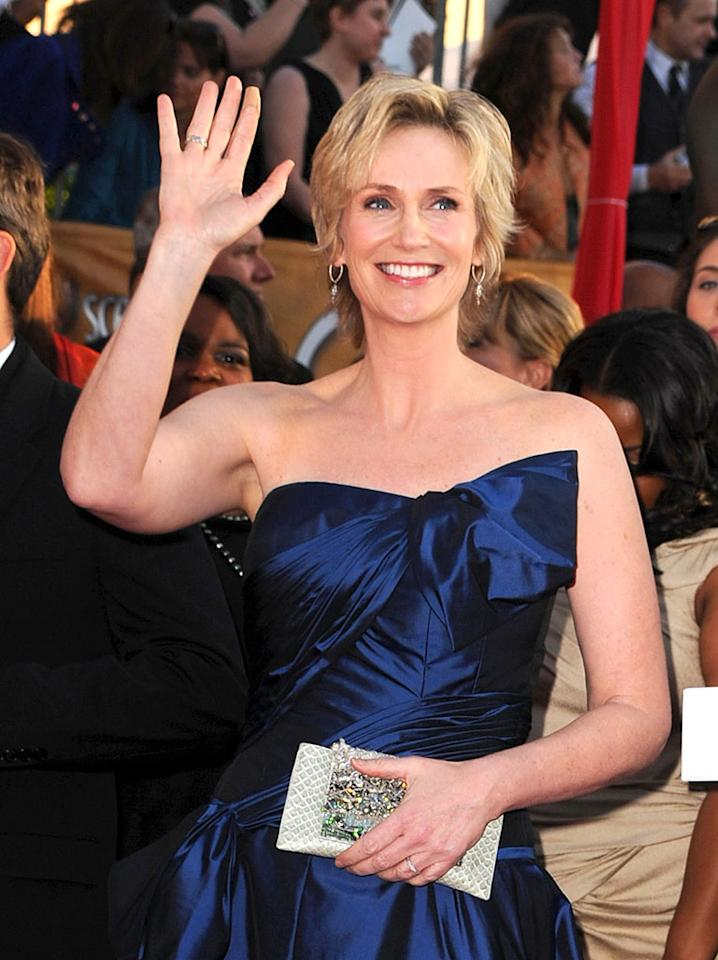 "Actress Jane Lynch, who plays the gym teacher everyone loves to hate on ""Glee,"" showed a softer side last spring when she giddily announced plans to wed partner Lara Embry. The couple married on May 31 in Massachusetts. Steve Granitz/<a href=""http://www.wireimage.com"" target=""new"">WireImage.com</a> - January 23, 2010"