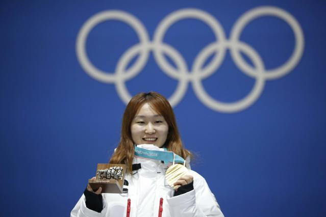 Medals Ceremony - Short Track Speed Skating Events - Pyeongchang 2018 Winter Olympics - Women's 1500m - Medals Plaza - Pyeongchang, South Korea - February 18, 2018 - Gold medalist Choi Min-jeong of South Korea on the podium. REUTERS/Kim Hong-Ji