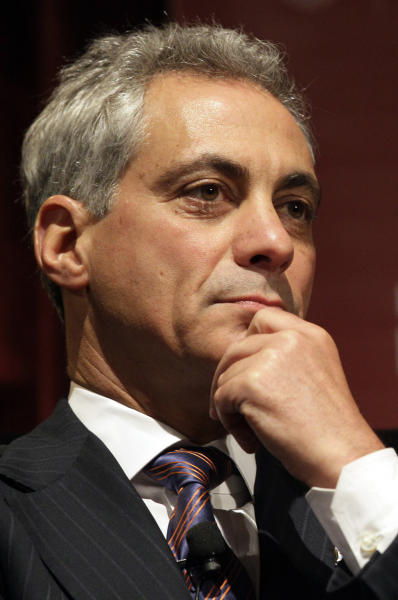 """FILE - In this Jan. 19, 2012 file photo, Chicago Mayor Rahm Emanuel is seen in Chicago. Emanuel surprised the city in April by commenting that the negotiations to renovate Wrigley Field were in final stages. But when a short-lived anti-Obama ad campaign to be bankrolled by the patriarch of the family that owns the Chicago Cubs became public, the mayor, a former Obama chief of staff, was """"livid,"""" according to his staff. (AP Photo/Nam Y. Huh, File)"""