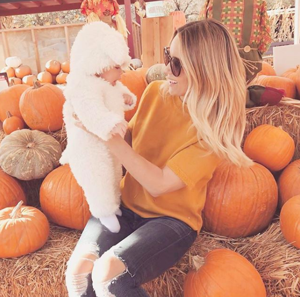 "<p>""This little lamb had his first trip to the pumpkin patch today,"" the reality star turned lifestyle blogger captioned this photo featuring her son, Liam. (Photo: Lauren Conrad via Instagram) </p>"