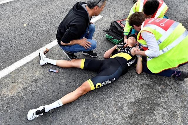 Defending Tour of Flanders champion Niki Terpstra crashed out of the gruelling one-day race (AFP Photo/DIRK WAEM)