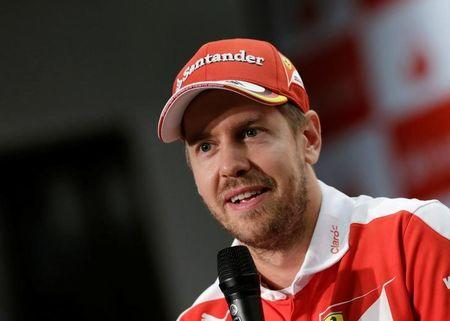 Ferrari's Sebastian Vettel of Germany attends a news conference, in Mexico City