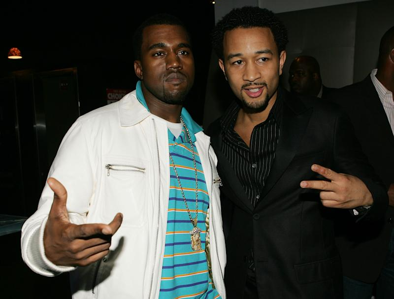 Kanye West (L) and John Legend (R) pictured together in 2005. (Photo: Frank Micelotta/Getty Images).