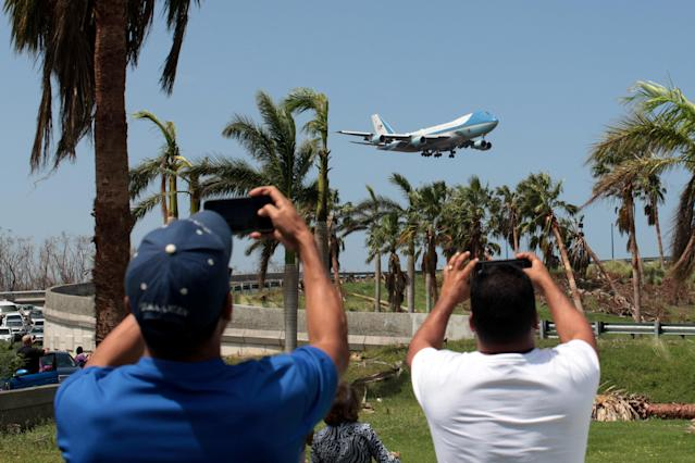 <p>Air Force One transporting U.S. President Donald Trump lands at Luis Munoz Marin International Airport, as part of a visit to the areas affected by Hurricane Maria, in San Juan, Puerto Rico, Oct.3, 2017. (Photo: Alvin Baez/Reuters) </p>