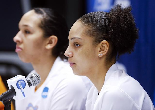 Tennessee forward Cierra Burdick, right, and center Mercedes Russell, left, answer questions during an NCAA women's college basketball news conference Sunday, March 23, 2014, in Knoxville, Tenn. Tennessee is scheduled to play St. John's in a second-round tournament game Monday. (AP Photo/John Bazemore)