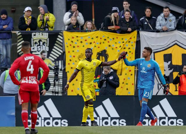 "<a class=""link rapid-noclick-resp"" href=""/soccer/players/751598/"" data-ylk=""slk:Zack Steffen"">Zack Steffen</a> (right), Jonathan Mensah and the <a class=""link rapid-noclick-resp"" href=""/soccer/teams/columbus-crew/"" data-ylk=""slk:Columbus Crew"">Columbus Crew</a> frustrated the <a class=""link rapid-noclick-resp"" href=""/soccer/teams/new-york-red-bulls/"" data-ylk=""slk:New York Red Bulls"">New York Red Bulls</a> in Sunday's 1-0 win. (Adam Lacy/Getty)"