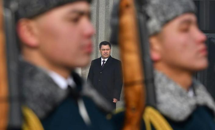 Kyrgyzstan's President Sadyr Japarov was propelled to power last year by protesters who dramatically busted him out of jail (AFP/Vyacheslav OSELEDKO)