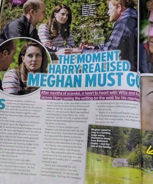 The story claimed Kate and William were encouraging Harry to see that Meghan 'must go'.