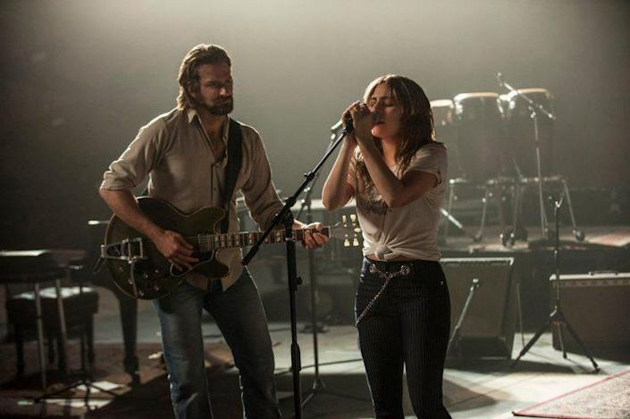 Star… Gaga and Cooper in the first look at the latest remake of 'A Star Is Born' – Credit: Warner Bros