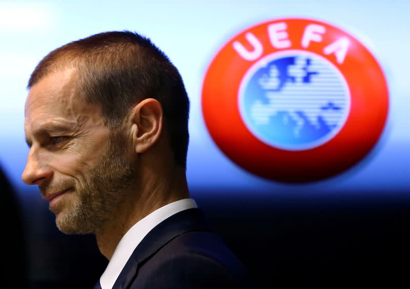 FILE PHOTO: UEFA president Aleksander Ceferin arrives at a news conference in Stara Pazova, Serbia