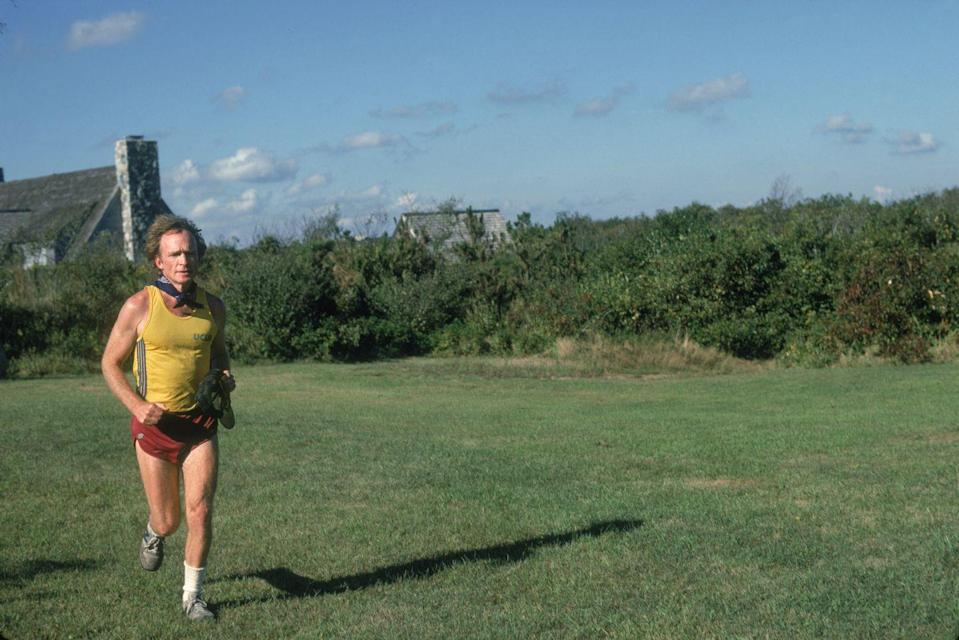 <p>Television host Dick Cavett takes his short-shorts out for a jog in the Hamptons.</p>