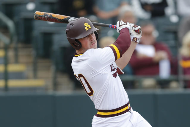 FILE - In this Feb. 17, 2019, file photo, Arizona State's Spencer Torkelson bats during an NCAA college baseball game against Notre Dame in Phoenix. The Detroit Tigers are rebuilding around an impressive group of minor league pitchers. Now, it might be time to add a star hitting prospect to the mix. Whether its Arizona State slugger Spencer Torkelson or somebody else, Detroit has a chance to add another potential standout when it makes the No. 1 selection in Wednesday nights Major League Baseball draft. (AP Photo/Rick Scuteri, File)