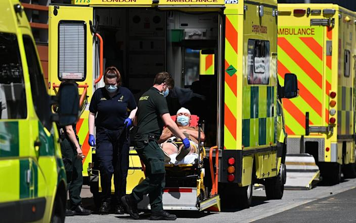 A patient is brought into the Royal London hospital in London, Britain, 14 June 2021. British Prime Minister Boris Johnson is set to announce a delay to lockdown easing regulations 14 June. - Shutterstock