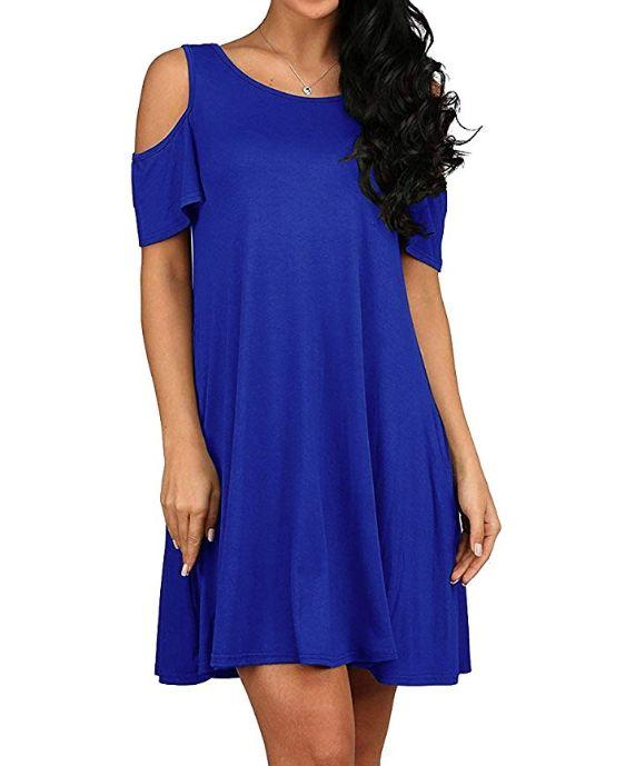"""This cold-shoulder dress comes in sizes XS to XL and twenty colors and patterns. <strong><a href=""""https://amzn.to/2lzzHoV"""" target=""""_blank"""" rel=""""noopener noreferrer"""">Normally $30, get it on sale for $20 on Prime Day</a>.</strong>"""