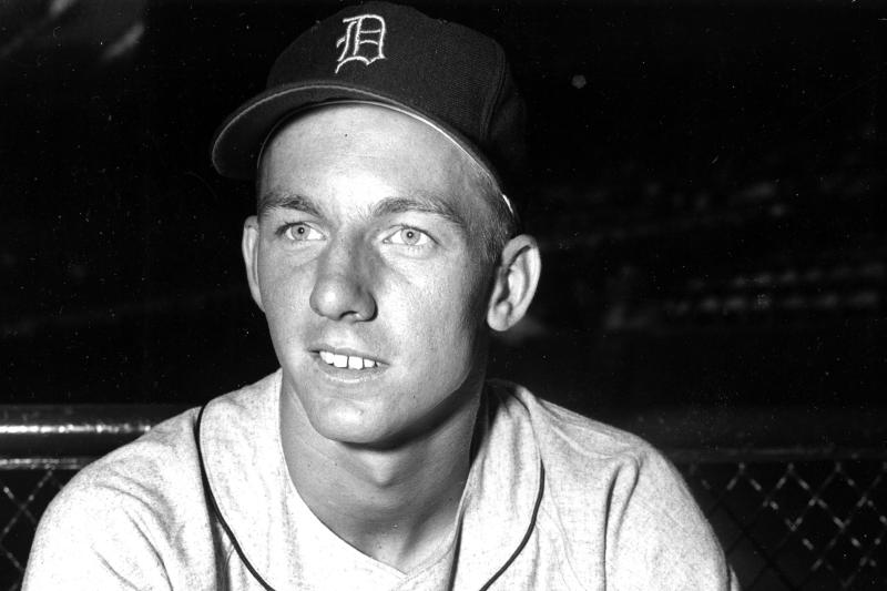 """FILE - This is a June 23, 1953, file photo showing Detroit Tigers baseball player Al Kaline. Al Kaline, who spent his entire 22-season Hall of Fame career with the Detroit Tigers and was known affectionately as """"Mr. Tiger,"""" has died. He was 85. John Morad, a friend of Kaline's, confirmed to The Associated Press that he died Monday, April 6, 2020, at his home in Michigan. (AP Photo/FIle)"""