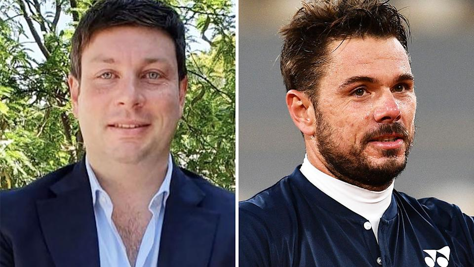 Victorian opposition MP has been chastised on Twitter for labelling Australian Open star Stan Wawrinka a 'flog', despite the Swiss player's public acceptance of the state's strict quarantine measures. Pictures: Instagram/Getty Images