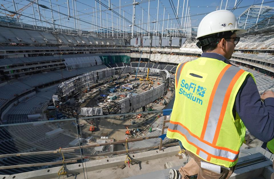 Construction at SoFi Stadium is nearing its end. (Photo by Scott Varley/MediaNews Group/Torrance Daily Breeze via Getty Images)
