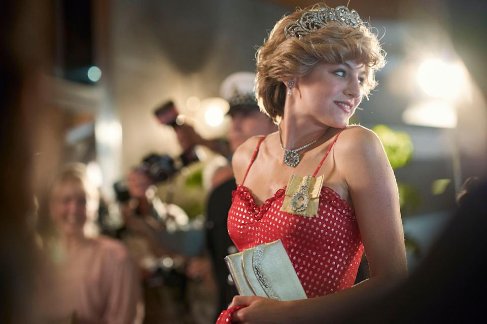 Emma in character as Princess Diana in The Crown (Photo: Des Willie/Netflix)