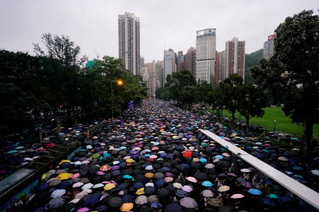 Anti-extradition bill protesters march to demand democracy and political reforms, in Hong Kong, China August 18,