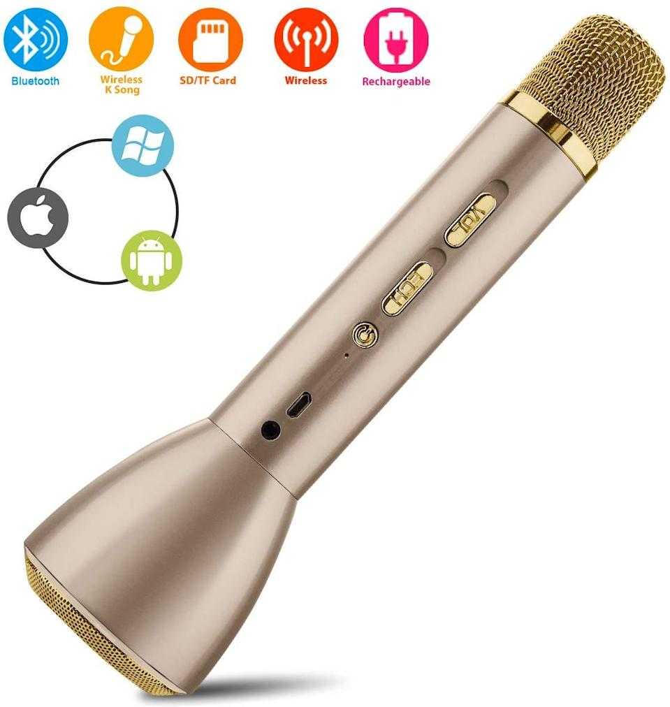 """The karaoke microphone is some ways a gift, and in others a real party starter when put to use right away. <br><br><strong>Amazon</strong> Wireless Karaoke Microphone, $, available at <a href=""""https://www.amazon.com/Wireless-Microphone-Bluetooth-Recording-Equipment/dp/B07VXQS16X/"""" rel=""""nofollow noopener"""" target=""""_blank"""" data-ylk=""""slk:Amazon"""" class=""""link rapid-noclick-resp"""">Amazon</a>"""