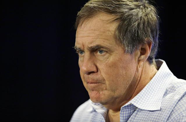 New England Patriots head coach Bill Belichick listens to a reporter's question during a media availability at the NFL football team's facility in Foxborough, Mass., Monday, Jan. 20, 2014. The Patriots lost to the Denver Broncos in the AFC Championship game Sunday in Denver ending their season. (AP Photo/Stephan Savoia)