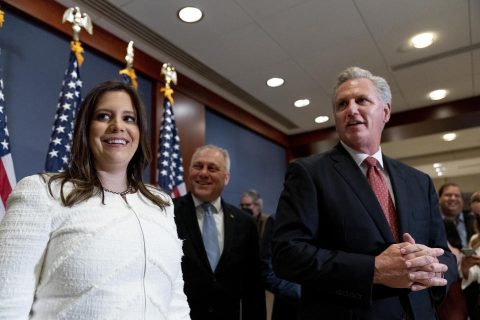 From left, newly-elected House Republican Conference Chair Rep. Elise Stefanik, R-N.Y., House Minority Whip Steve Scalise, R-La., and House Minority Leader Kevin McCarthy, R-Calif., speak to members of the media just after Stefanik was elected chair of the House Republican Conference, replacing Rep. Liz Cheney, R-Wyo., who was ousted from the GOP leadership for criticizing former President Donald Trump, at the Capitol in Washington, Friday, May 14, 2021. (AP Photo/Andrew Harnik)