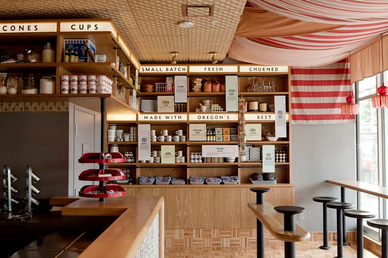 Inside Salt & Straw's ice cream store in Portland's Southeast Division Street neighborhood.