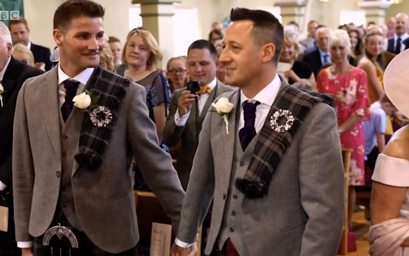 Jamie Wallace and Ian McDowall married at the Rutherglen United Reformed Church in Glasgow
