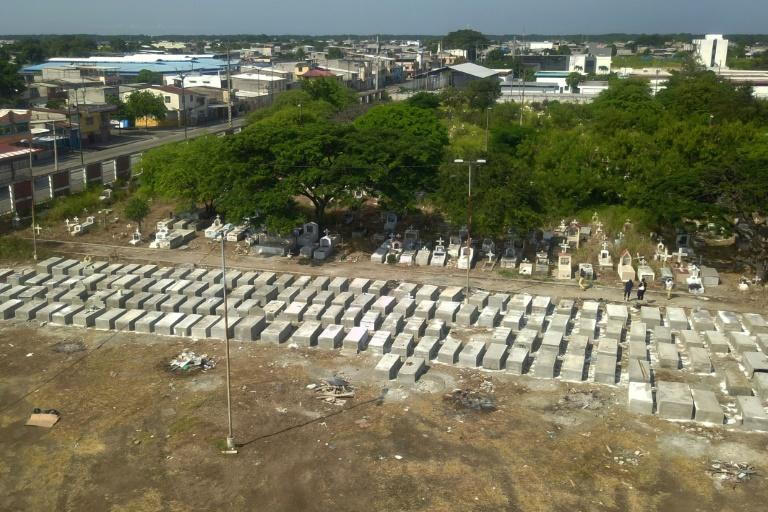 Aerial view of new graves at Maria Canals cemetery in the outskirts of Guayaquil, Ecuador, on April 12, 2020