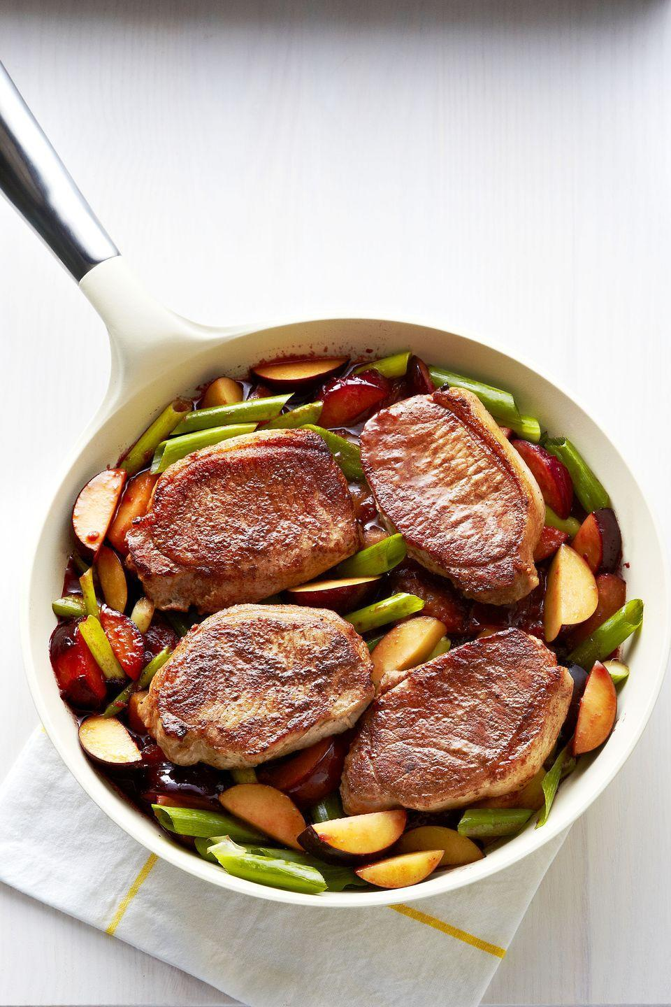 "<p>Plums prove their versatility in this crazy-delicious skillet dish. Sure, the fruit tastes great in <a href=""https://www.goodhousekeeping.com/food-recipes/a5256/summer-plum-tart-1652/"" rel=""nofollow noopener"" target=""_blank"" data-ylk=""slk:tarts"" class=""link rapid-noclick-resp"">tarts</a>, pies and other sweets. But here, they infuse incredible flavor into plain, boneless pork chops.</p><p><a href=""https://www.goodhousekeeping.com/food-recipes/a14958/five-spice-pork-plums-recipe-ghk1014/"" rel=""nofollow noopener"" target=""_blank"" data-ylk=""slk:Get the recipe for Five Spice Pork with Plums »"" class=""link rapid-noclick-resp""><em>Get the recipe for Five Spice Pork with Plums »</em></a></p>"