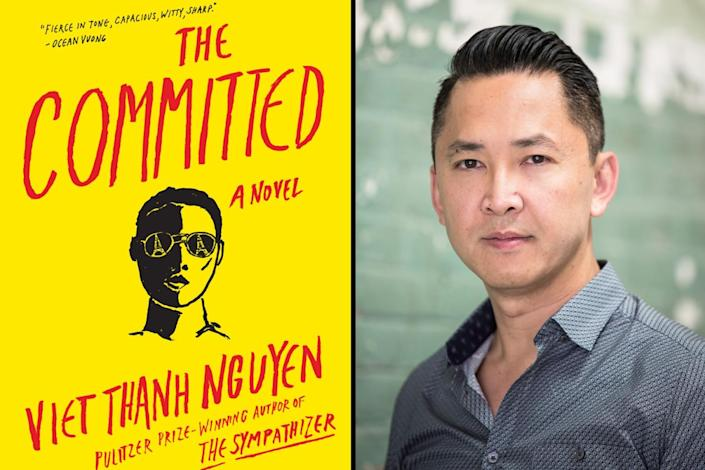 "A headshot of Viet Thanh Nguyen beside a book jacket for ""The Committed."""