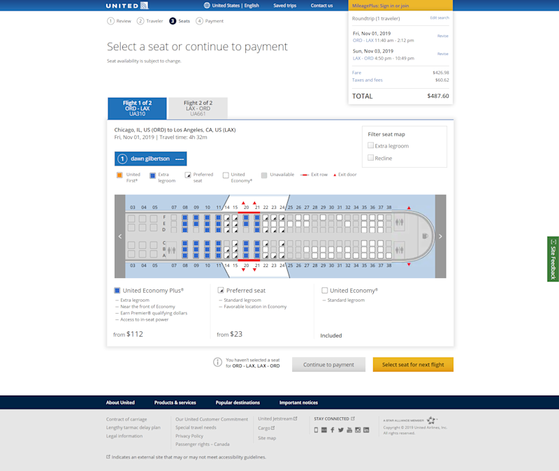 Reserving one of United's Economy Plus seats, seats near the front of the plane with extra leg room, start at $112 one way on a Chicago to Los Angeles flight in November.