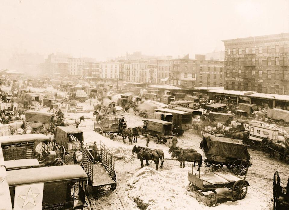 <p>A frozen Westside Market during a February snowstorm doesn't stop New Yorkers from visiting by horse and cart.</p>