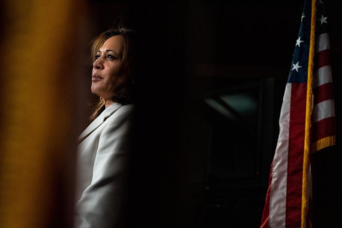 Sen. Kamala Harris (D-Calif.) during a news conference after the first day of the Senate impeachment trial of President Donald Trump in Washington on Thursday, Jan. 16, 2020. (Anna Moneymaker/The New York Times)
