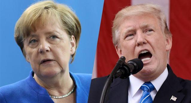 German Chancellor Angela Merkel and President Trump. (Photos: Sean Gallup/Getty Images – Olivier Douliery/Getty Images)