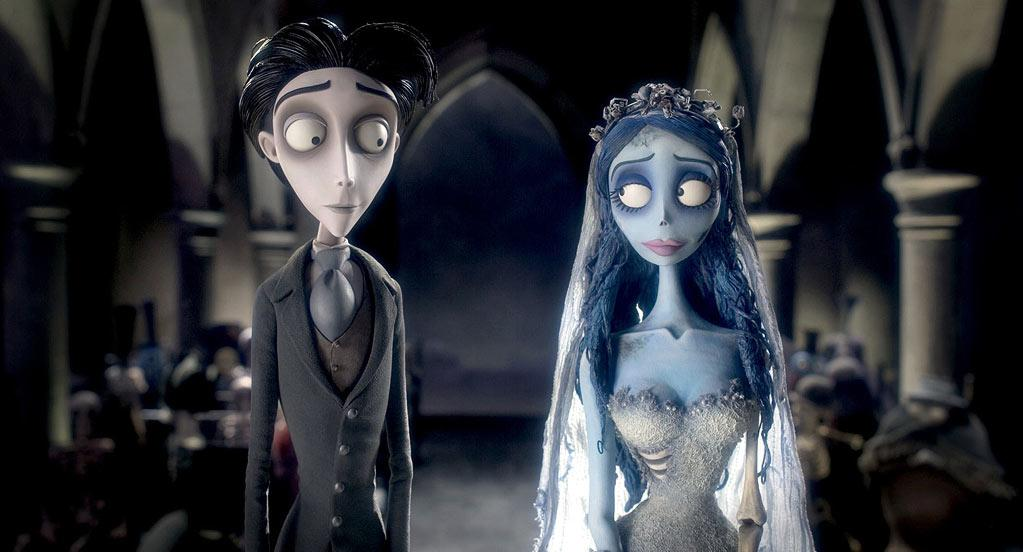"""<a href=""""http://movies.yahoo.com/movie/1808625206/info"""">Tim Burton's Corpse Bride</a> (2005): A marriage of painstaking stop-motion animation and digital technology that's every inch a Tim Burton movie: wondrous, strange, poignant, and beautifully reflective of the director's distinctive, darkly humorous style. With an all-star voice cast led by Burton regulars Johnny Depp and Helena Bonham Carter, the film follows the romantic troubles of a shy young man torn between the woman his parents have arranged for him to marry and the woman who rises from the Land of the Dead and accidentally becomes his wife. The music from Burton's longtime collaborator Danny Elfman adds just the right lively tone to such gleefully macabre material."""