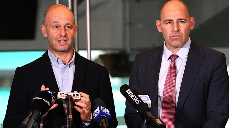 Australian Crickters' Association CEO Todd Greenberg speaks at a press conference along with Cricket Australia interim CEO Nick Hockley. (Photo by Saeed KHAN / AFP) (Photo by SAEED KHAN/AFP via Getty Images)