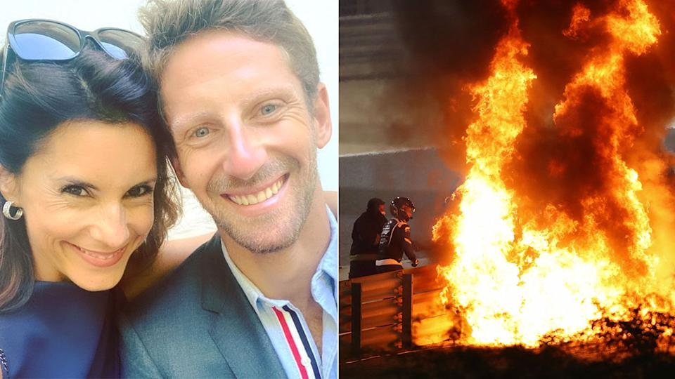Romain Grosjean is pictured here with his wife and on the right is the fire from his Bahrain GP crash.