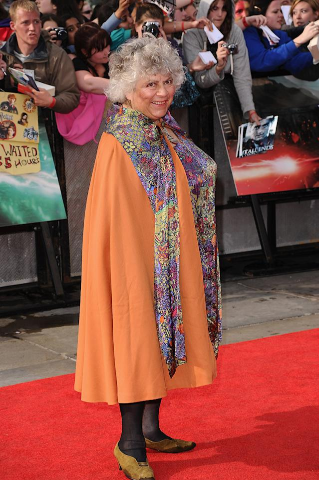 """<a href=""""http://movies.yahoo.com/movie/contributor/1800020415"""">Miriam Margoyles</a> at the London world premiere of <a href=""""http://movies.yahoo.com/movie/1810004624/info"""">Harry Potter and the Deathly Hallows - Part 2</a> on July 7, 2011."""