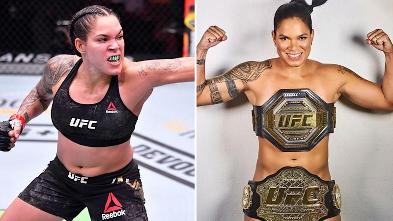 Pictured here, Amanda Nunes in action at UFC 250 and wearing nothing but her two UFC belts for a naked photo.