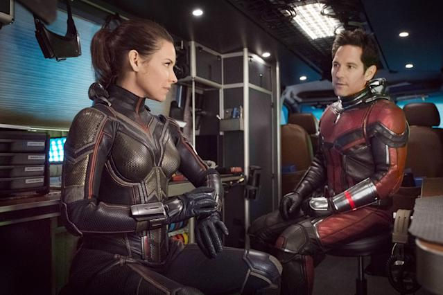 Evangeline Lilly and Paul Rudd play the titular pint-size heroes of Marvel's latest blockbuster Ant-Man and the Wasp. (Photo: Ben Rothstein/Marvel/Walt Disney Studios Motion Pictures/Courtesy of Everett Collection)