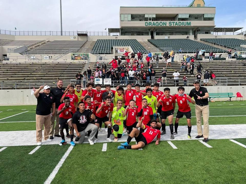 The Diamond Hill-Jarvis boys soccer team beat Midlothian Heritage 4-1 in the Class 4A Region 1 quarterfinals at Dragon Stadium on Friday April 2, 2021.