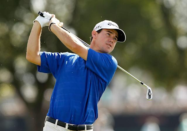 PALM BEACH GARDENS, FL - MARCH 02: Brian Harman hits his tee shot on the fourth hole on his way to posting a course record 61 during the second round of the Honda Classic at PGA National on March 2, 2012 in Palm Beach Gardens, Florida. (Photo by Mike Ehrmann/Getty Images)