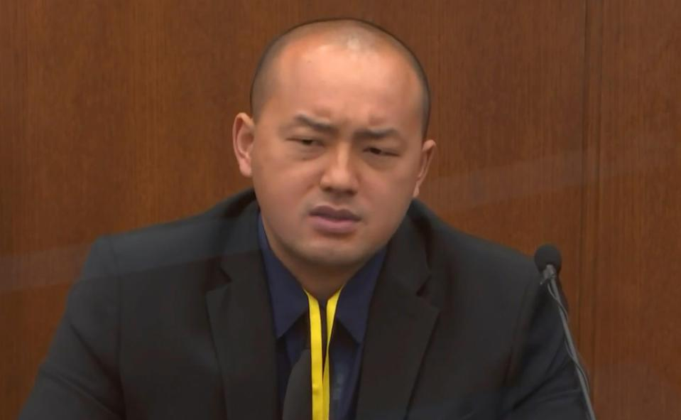 In this image from video, Minneapolis Park Police Officer Peter Chang testifies as Hennepin County Judge PeterCahill presides, Tuesday, April 13, 2021, in the trial of former Minneapolis police Officer Derek Chauvin at the Hennepin County Courthouse in Minneapolis, Minn.  Chauvin is charged in the May 25, 2020 death of George Floyd.