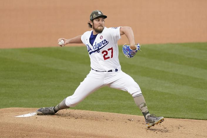 Los Angeles Dodgers starting pitcher Trevor Bauer (27) throws during the first inning of a baseball game.