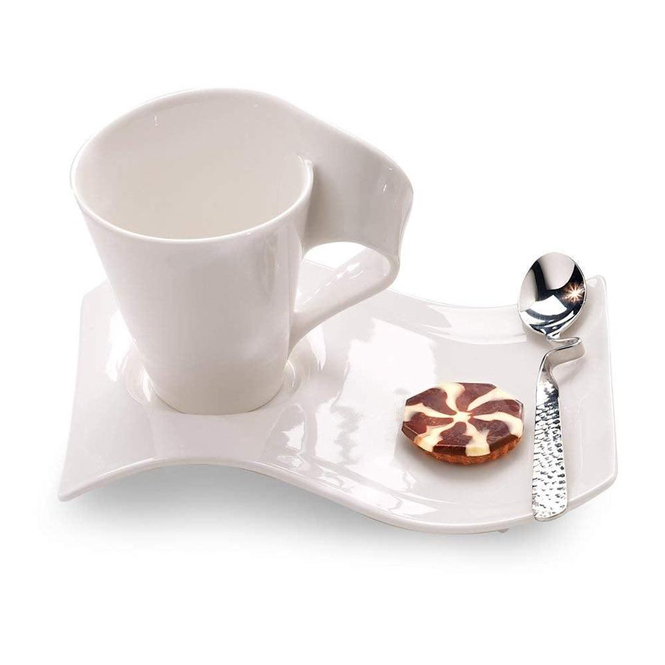 <p>These <span>Villeroy & Boch New Wave Caffe Mugs</span> ($49, set of two) are totally genius.</p>