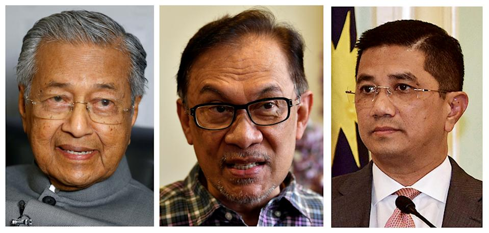 A combination photo shows Malaysia's former Prime Minister Mahathir Mohamad (L-R), Leader of the Opposition Anwar Ibrahim and Senior Minister for Economy and the Minister of International Trade and Industry Azmin Ali in Malaysia on 28 March, 2019, 17 May, 2018 and 5 September, 2018. REUTERS/Stringers
